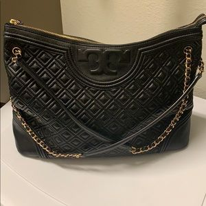Tory Burch Quilted Leather Bag | Black & Gold